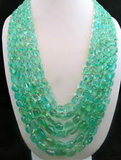 COLLECTORS!! 1148 CTS UNIQUE COLOMBIAN EMERALD LONG TUMBLE BEADS NECKLACE