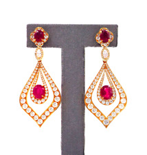 RUBY AND DIAMOND PENDANT EARRINGS 18K ROSE GOLD GRS CERTIFICATE