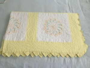 BEAUTIFUL HAND MADE VINTAGE QUILT - CROSS-STITCHED