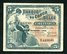More details for belgian congo (p13aa) 5 francs 1943 avf/vf