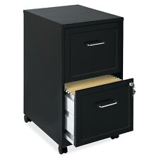 "Lorell 16872 2-Drawer Mobile Steel File Cabinet 18"" Depth, Locking Drawer, Black"