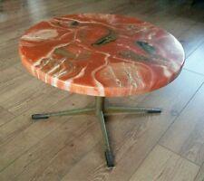 Retro orange marble effect round coffee table, vintage, mid century