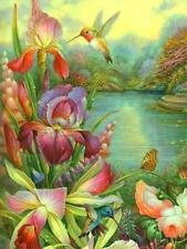Scarce Leanin' Tree greeting card, lake, birds, flowers, art by Oleg Gavitov