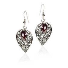 Beautiful New Sterling Silver Drop Dangle Filigree Earrings Red Garnet Gemstone