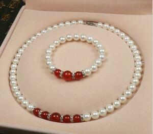 "AAA+ 8MM White SOUTH SEA SHELL PEARL+Reb Ruby Beads NECKLACE 18"" +Bracelet Set"