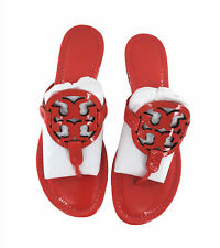 NIB Tory Burch Leather Miller Thong Sandals Bright Samba Red Size 10