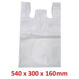 1000 Pcs Large White Carry Bags Strong Plastic Bin Liner Shopping Supermarket Sy