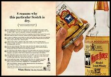 1964 The White Horse Cellar Blended Scotch Whisky Glass Vintage 2-Page Print Ad