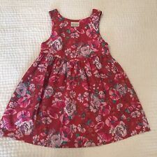 Vintage Laura Ashley Made In Britain Red Floral Summer Dress Girls 3-4