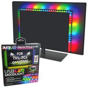 USB LED TV Backlight RGB Strip Light TVs Computer Mood Lighting Moodlight RC WLM