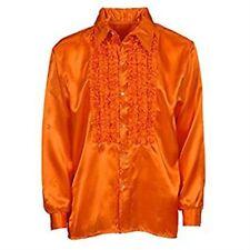 XXL Orange Men's Ruffle Shirt - Satin Men Disco 70s Retro