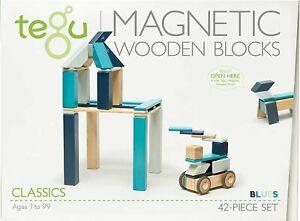 tegu magnetische Bausteine 42 Teile schadstoffarm farbecht pflegeleicht BLUES
