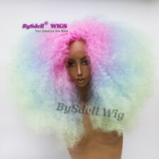 unicorn mermaid rainbow hair Front Lace Wig Afro Kinky curly wig for black women