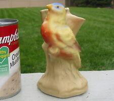 Czechoslovakia Vtg Pottery Flower Frog Bird Stem Bud Vase  Antique Finch Branch