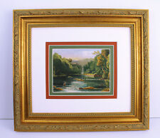 """Exquisite 1700s Antique Mystery Painting """"Natures Small Rocky Grotto"""" FRAMED COA"""