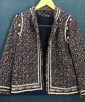 Zara Woman Red Black Tweed Blazer Jacket - Size M