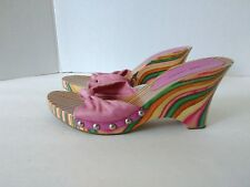 Chinese Laundry Time Out Womens US 7.5 M Fabric Wood Wedge Multi Colored Sandals