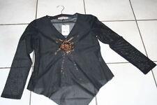 Tunika Perle transparent Shirt langarm Bluse Größe S M L XL V-Ausschnitt 371