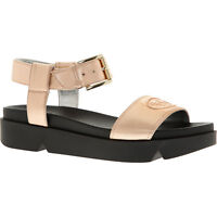 EMPORIO ARMANI Women's Metallic Rose Leather Sandals UK 3 4