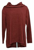 Isaac Mizrahi Live! Women's Top Sz L SOHO Cowl Neck Swing Knit Red A346827