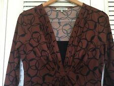 Ladies Tunic Dress Brown Patterned Size 12 By laura Ashley