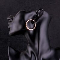"""Awesome New 18K Rose Gold Plated Smooth & Shiny 1.25"""" Round Hoop Earrings"""