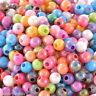 500 Neu Mix  Farbe Rund Acryl Spacer Beads Kugeln Basteln 6mm