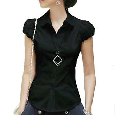Collared Career Hippie Womens Vintage Blouse Smart Dress Shirt Summer Top Size Black 10