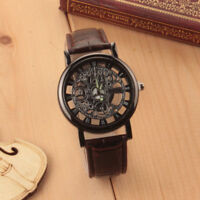 Luxury Men's Skeleton Stainless Steel Leather Band Transparent Hollow Wristwatch