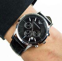 Original Emporio Armani AR2447 Herrenuhr Chronograph Echt Leder schwarz NEU