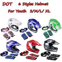 DOT Youth Kids Helmet Dirt Bike ATV Motocross Off-Road Full Face Goggles Gloves