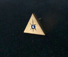 14k Gold Triangle Tie Tack Pin With Sapphire 2g