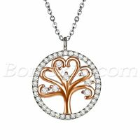 925 Sterling Silver Cubic Zirconia Womens Two Tone Tree of Life Pendant Necklace