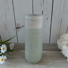 Green Rustic Stoneware Vase With Grey Trim From The Eucalyptus Range
