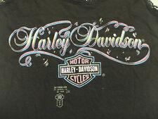 Vintage 80s 3D Harley Davidson Motorcycles Shield Ladies Biker Top not 70s 90s