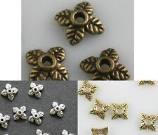 100pcs Retro Silver/Golden/Bronze Tone Leaf Bead Caps For Diy Craft 6mm
