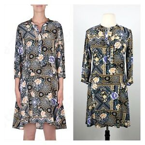 BNWT KACHEL Silk-look Boho Print Winter Dress. Size 14.