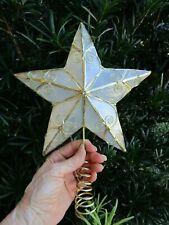 Capi Shells & Gold Tone Metal Frame Star Christmas Tree Topper