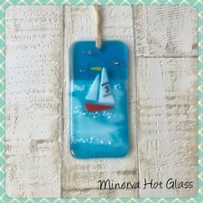 Fused Glass Sailing Boat Nautical Sun Catcher Light Catcher Minerva Hot Glass