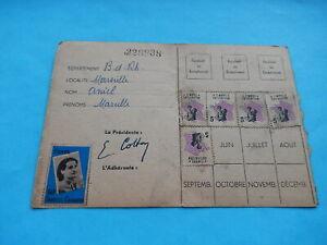 CARTE ADHERENTE UFF DANIELLE CASANOVA MARSEILLE 1948 VIGNETTES FEMME FOYER