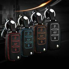 Black+Blue Leather Car Remote Key Control Case Bags Holder Cover For Vxxxxxxxxx