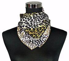 Luxurious 100% Silk Twill Scarf Wrap w/ Leopard Pattern, Black/Ivory