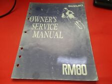 FACTORY OEM SUZUKI 1992 RM80 N OWNERS SERVICE MANUAL 20 CHAPTERS