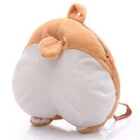Cute 3D Corgi Butt Ass Backpack Soft Plush Toy Puppy Bolster Bag Kids Adult Gift