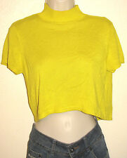 Rihanna Short Sleeve Open-Back Mock-Neck Yellow Crop Top Size 4/6 NWT