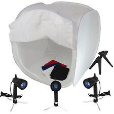 "DynaSun 32"" 80cm Studio Softbox Light Tent Cube Shooting Box 4 Backdrop 3 Lights"