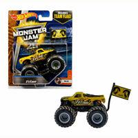 Mattel Hot Wheels Monster Jam 25 Truck Titan Mud Yellow Die-Cast w/ Team Flag 3+