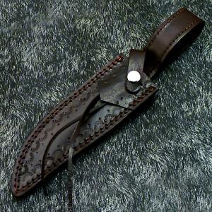 BEAUTIFUL CUSTOM MADE PURE LEATHER SHEATH FOR FIXED BLADE HUNTING KNIFE WD-3789