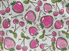 Cherries Strawberries 100% Cotton Woven Fabric W155cm Fabric by the Half Metre