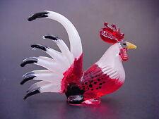 Glass COCKEREL CHICKEN HEN ROOSTER Bird Painted Glass Animal Glass Ornament Gift